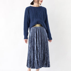 women blue chunky sweaters oversized O neck side open knitted blouses     vintage cable knit shirt