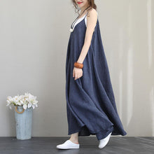 Load image into Gallery viewer, women blue linen maxi dress plus size O neck Spaghetti Strap embroidery linen maxi dress Fine exra large hem maxi dresses