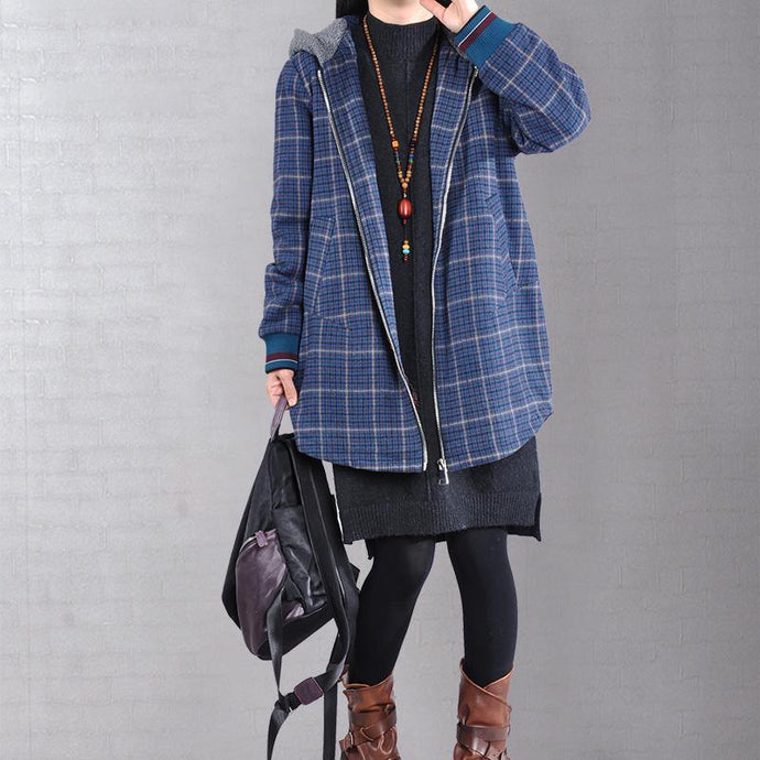 women blue plaid Woolen Coats plus size clothing medium length jackets zippered hooded jacket
