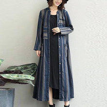 Load image into Gallery viewer, women blue striped linen maxi shirt dress Loose fitting pockets linen cardigns casual o neck maxi coats