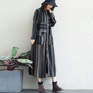 women blue striped linen maxi shirt dress Loose fitting pockets linen cardigns casual o neck maxi coats
