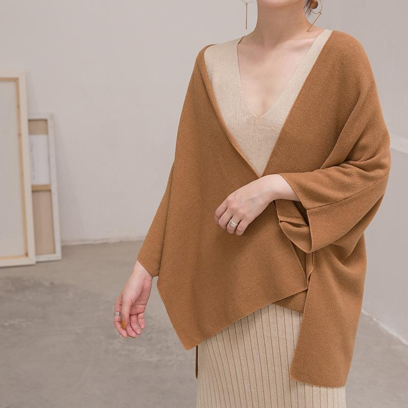 women brown winter sweater plus size Three Quarter sleeve knitted tops women cardigan fall blouse