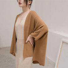 Load image into Gallery viewer, women brown winter sweater plus size Three Quarter sleeve knitted tops women cardigan fall blouse