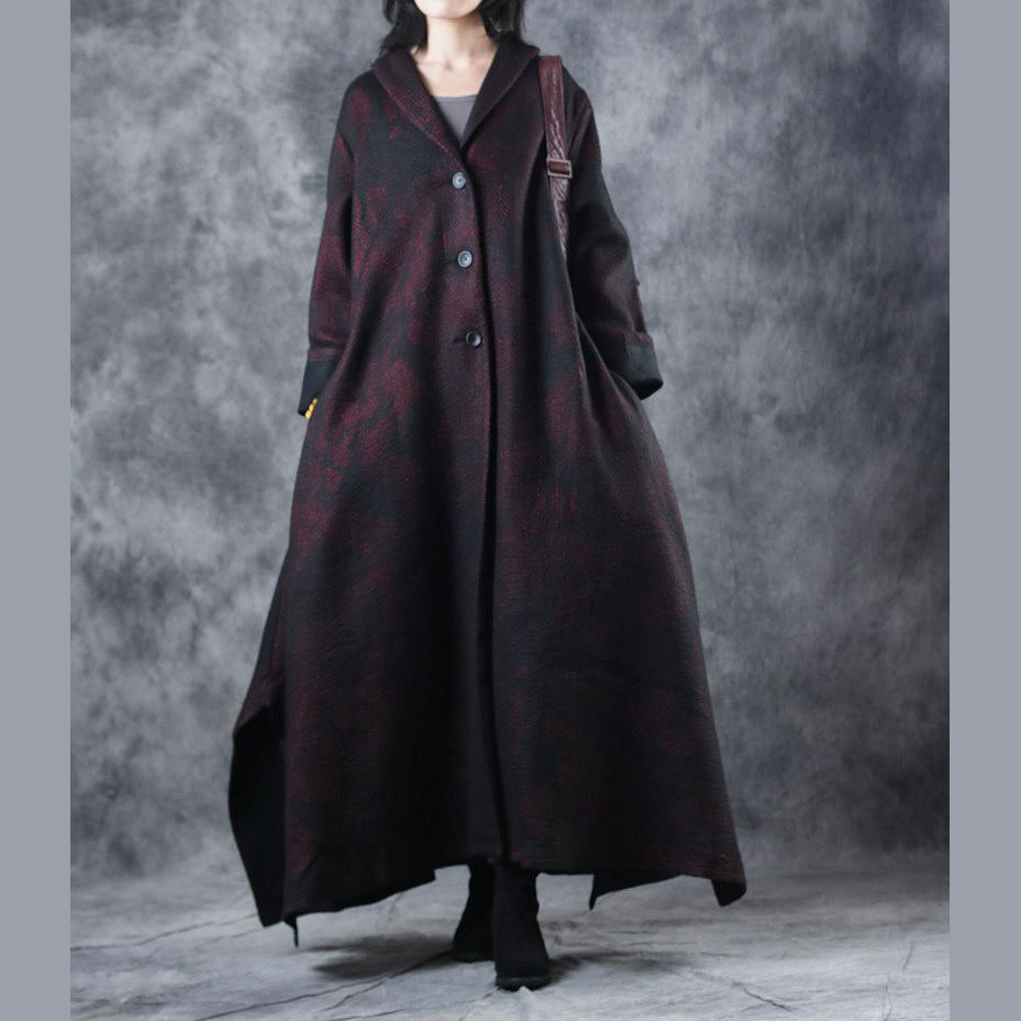 women burgundy woolen Coats trendy plus size Notched outwear vintage large hem asymmetric long coats