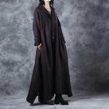Load image into Gallery viewer, women burgundy woolen Coats trendy plus size Notched outwear vintage large hem asymmetric long coats