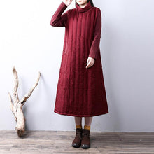 Load image into Gallery viewer, women burgundy for plus size high neck pockets patchworYZ-2018111420