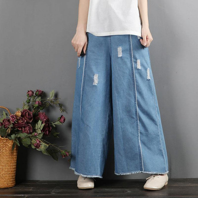women casual denim blue wide leg pants loose elastic waist slim straight pants