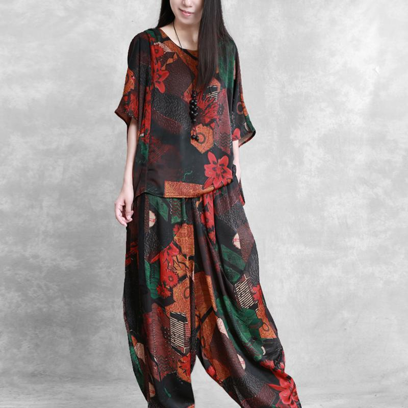 women casual silk blended two pieces Batwing Sleeve loose tops and wide leg pants