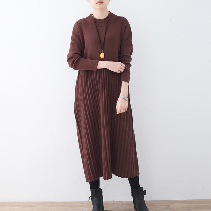 women chocolate sweater dresses trendy plus size high neck long knit sweaters Elegant wrinkled dresses