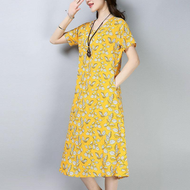 women cotton blended dresses plus size Women Casual Summer Printed Short Sleeve Yellow Dress