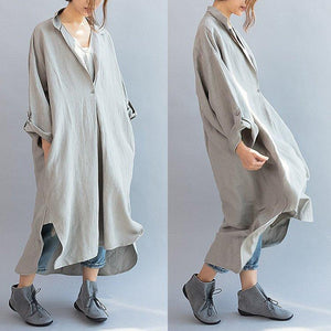 Women cotton linen casual loose fitting summer dress
