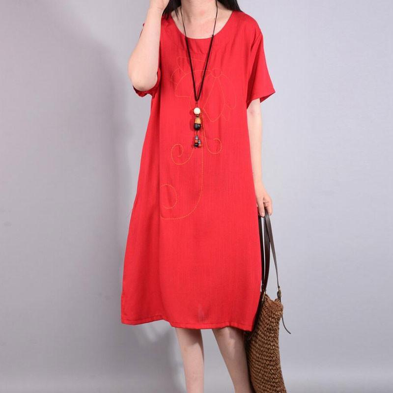 women cotton linen dress oversized Retro Summer Loose Embroidered Ethnic Red Dress