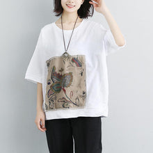 Load image into Gallery viewer, women cotton tops trendy plus size Women Casual Short Sleeve Stripe Flower White Tops