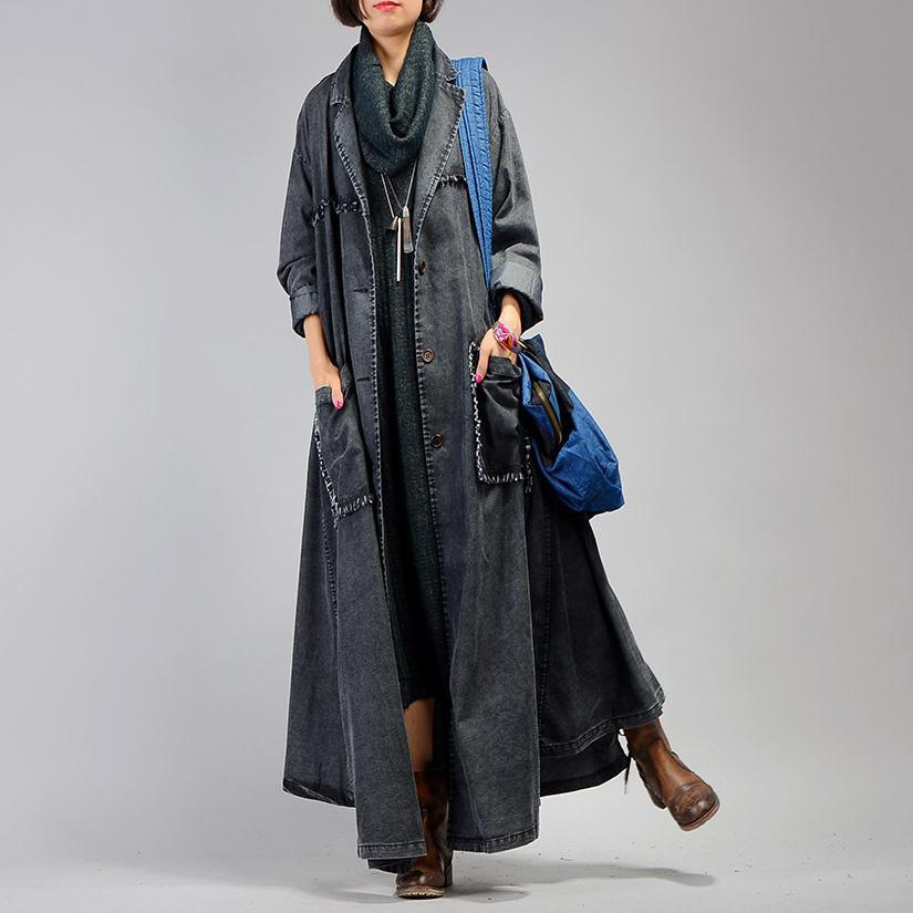 women denim black coat for casual maxi coat Notched women patchwork pockets coats