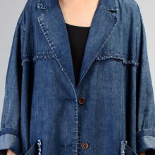 Load image into Gallery viewer, women denim black coat for casual maxi coat Notched women patchwork pockets coats
