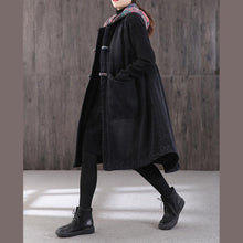 Load image into Gallery viewer, women denim black women parka plus size warm winter coat hooded pockets sleeveless coats