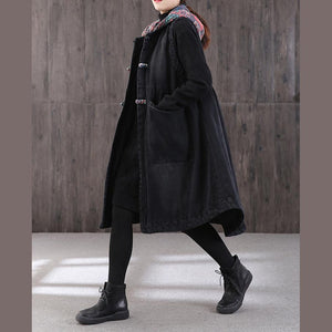 women denim black women parka plus size warm winter coat hooded pockets sleeveless coats