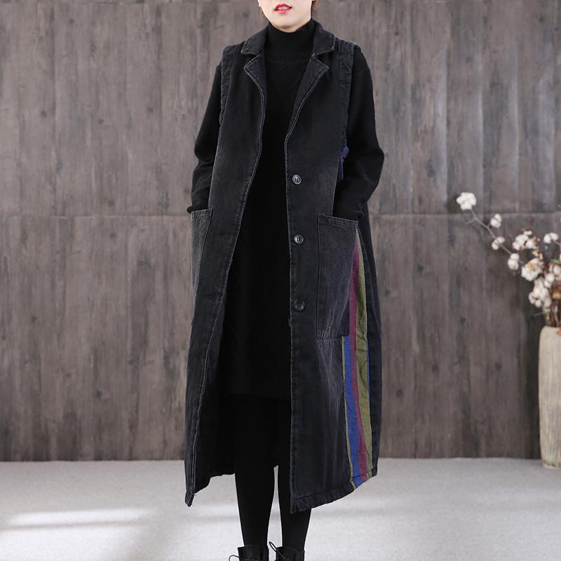 women denim black womens parkas plus size clothing winter outwear Notched Large pockets coats