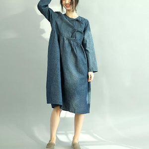 Women Denim Blue Cotton Caftans Plus Size O Neck Pockets Cotton Clothing Dress New Long Sleeve Wrinkled Maxi Dresses