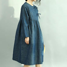 Load image into Gallery viewer, Women Denim Blue Cotton Caftans Plus Size O Neck Pockets Cotton Clothing Dress New Long Sleeve Wrinkled Maxi Dresses