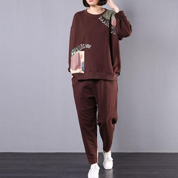 women fall brown cotton two pieces prints long sleeve pullover and harem pants