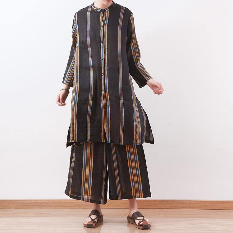 women fall yellow green striped silk linen two piece side open shirt dress and elastice waist wide leg pants