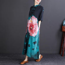 Load image into Gallery viewer, women floral cotton linen dress plus size Stand baggy dresses boutique half sleeve pockets long dresses