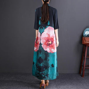 women floral cotton linen dress plus size Stand baggy dresses boutique half sleeve pockets long dresses