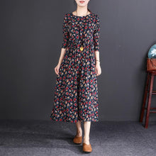 Load image into Gallery viewer, women floral cotton linen dress plus size clothing O neck wrinkled linen maxi dress vintage long sleeve baggy dresses