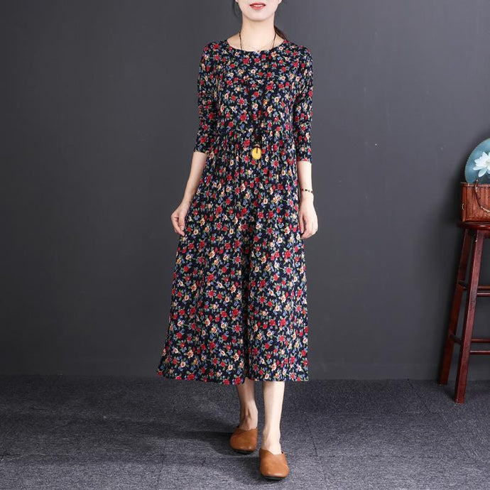 women floral cotton linen dress plus size clothing O neck wrinkled linen maxi dress vintage long sleeve baggy dresses