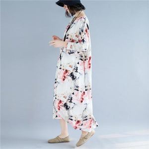 women floral cotton linen maxi dress casual o neck baggy dresses gown Elegant long sleeve dress