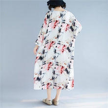 Load image into Gallery viewer, women floral cotton linen maxi dress casual o neck baggy dresses gown Elegant long sleeve dress
