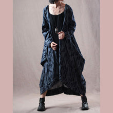 Load image into Gallery viewer, women gray blue  Winter coat trendy plus size big pockets trench coat top quality asymmetric long coat
