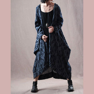 women gray blue  Winter coat trendy plus size big pockets trench coat top quality asymmetric long coat