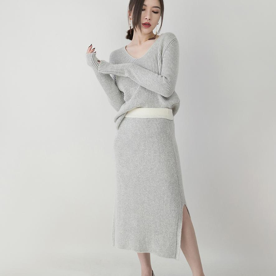 women gray knit sweaters plus size clothing v neck knitted blouses vintage side open skirt two pieces