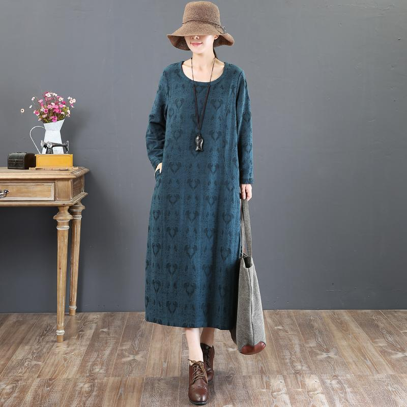 women green cotton maxi dress plus size clothing prints traveling dress top quality o neck kaftans