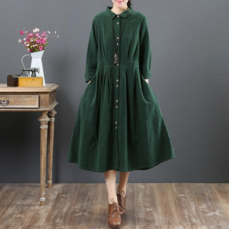 women green long linen dresses oversize lapel collar caftans casual tunic linen caftans