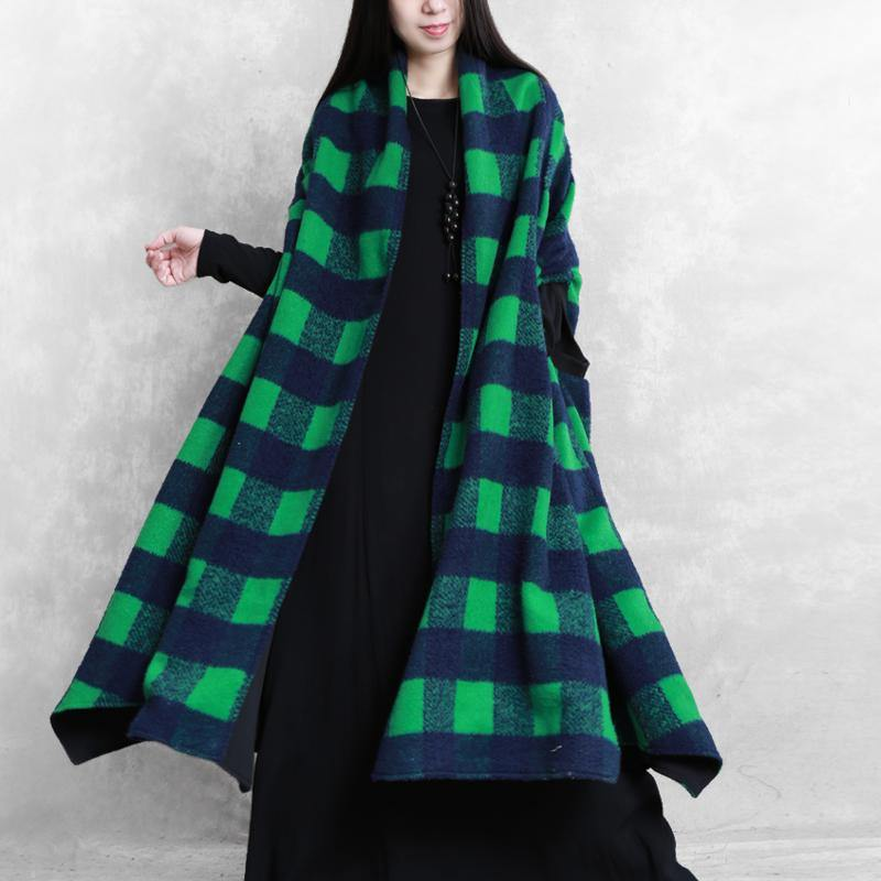 women green plaid wool overcoat casual Coats Batwing Sleeve patchwork