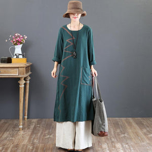 women green prints long cotton dresses Loose fitting o neck fall dresses Elegant big pockets kaftans