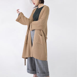 women khaki Coats knit cardigans sweater coat plus size clothing flare sleeve tie waist long coat Winter coat