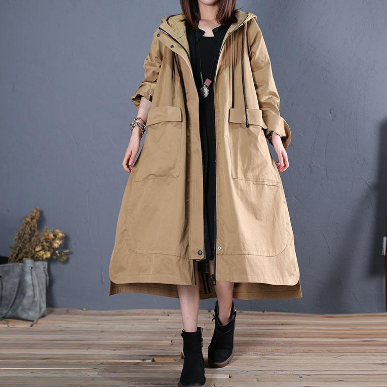 women khaki hooded jackets oversize long winter coat fall woolen outwear low high design