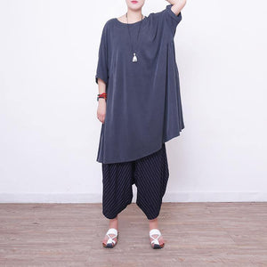 women light gray  pure silk dresses  plus size silk cotton dress top quality short sleeve o neck silk clothing dress