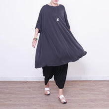 Load image into Gallery viewer, women light gray  pure silk dresses  plus size silk cotton dress top quality short sleeve o neck silk clothing dress