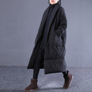 women light gray Winter Fashion plus size Turn-down down Collar cotton overcoat top quality pockets overcoat