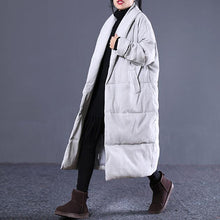 Load image into Gallery viewer, women light gray Winter Fashion plus size Turn-down down Collar cotton overcoat top quality pockets overcoat