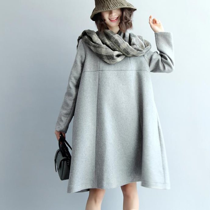 women light gray wool blended dresses long sleeve baggy dresses boutique O neck pockets wool blended dresses