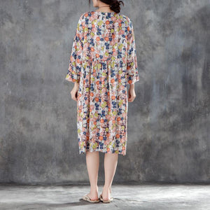 women midi silk linen dresses plus size clothing Women Round Neck Shoulder Sleeve Floral Printed Dress