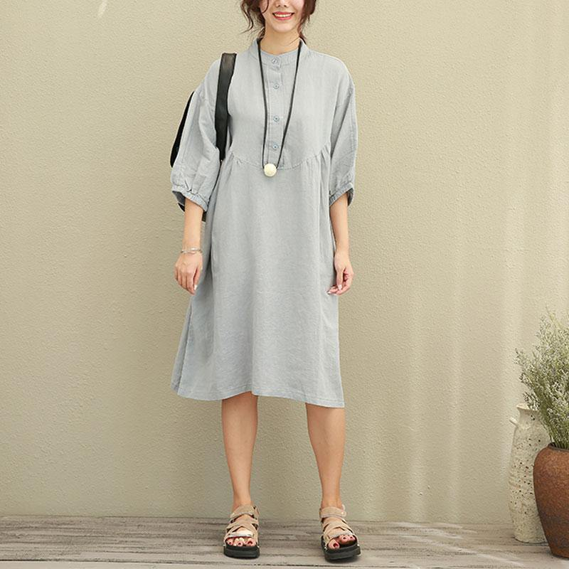 women natural linen dress Loose fitting Casual Loose Women Stand Collar Half Sleeve Gray Dress