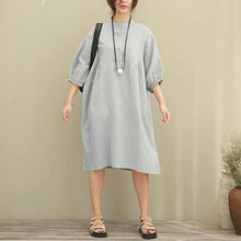 Load image into Gallery viewer, women natural linen dress Loose fitting Casual Loose Women Stand Collar Half Sleeve Gray Dress