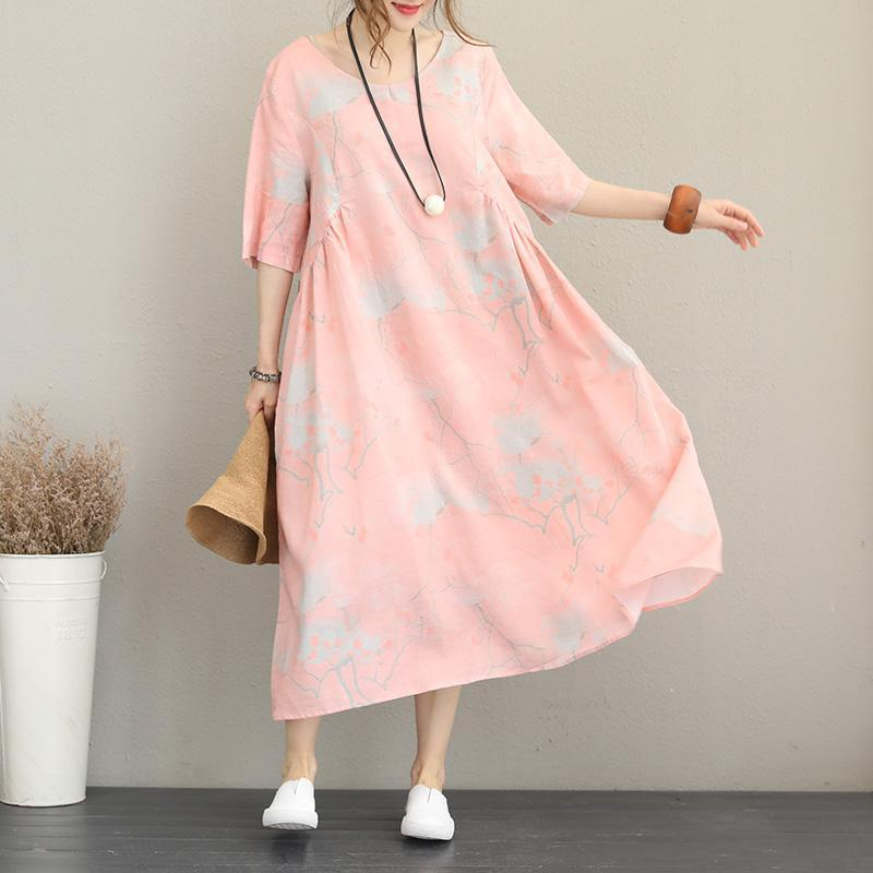 women pink print long silk linen dresses oversize o neck half sleeve silk linen gown 2018 baggy dresses